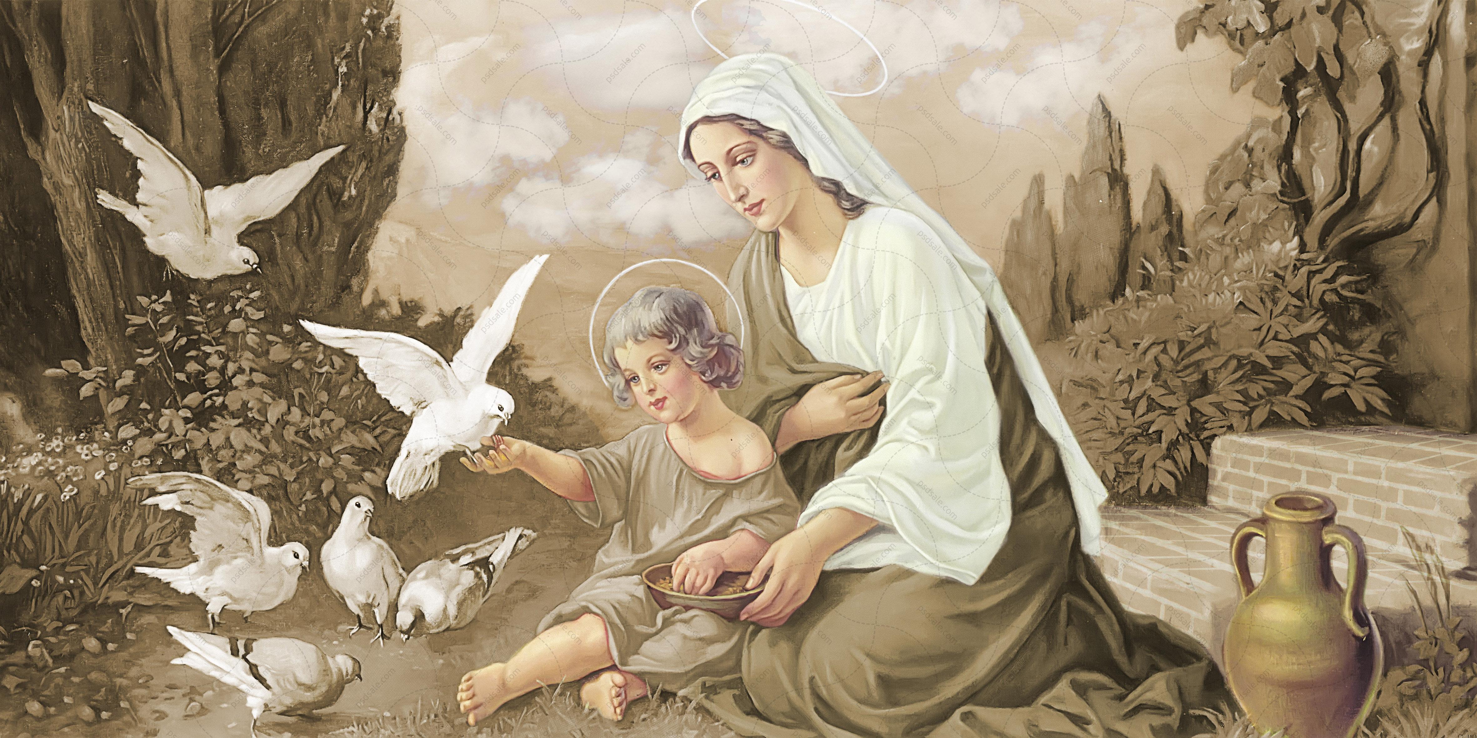 Богородица с Иисусом, голуби