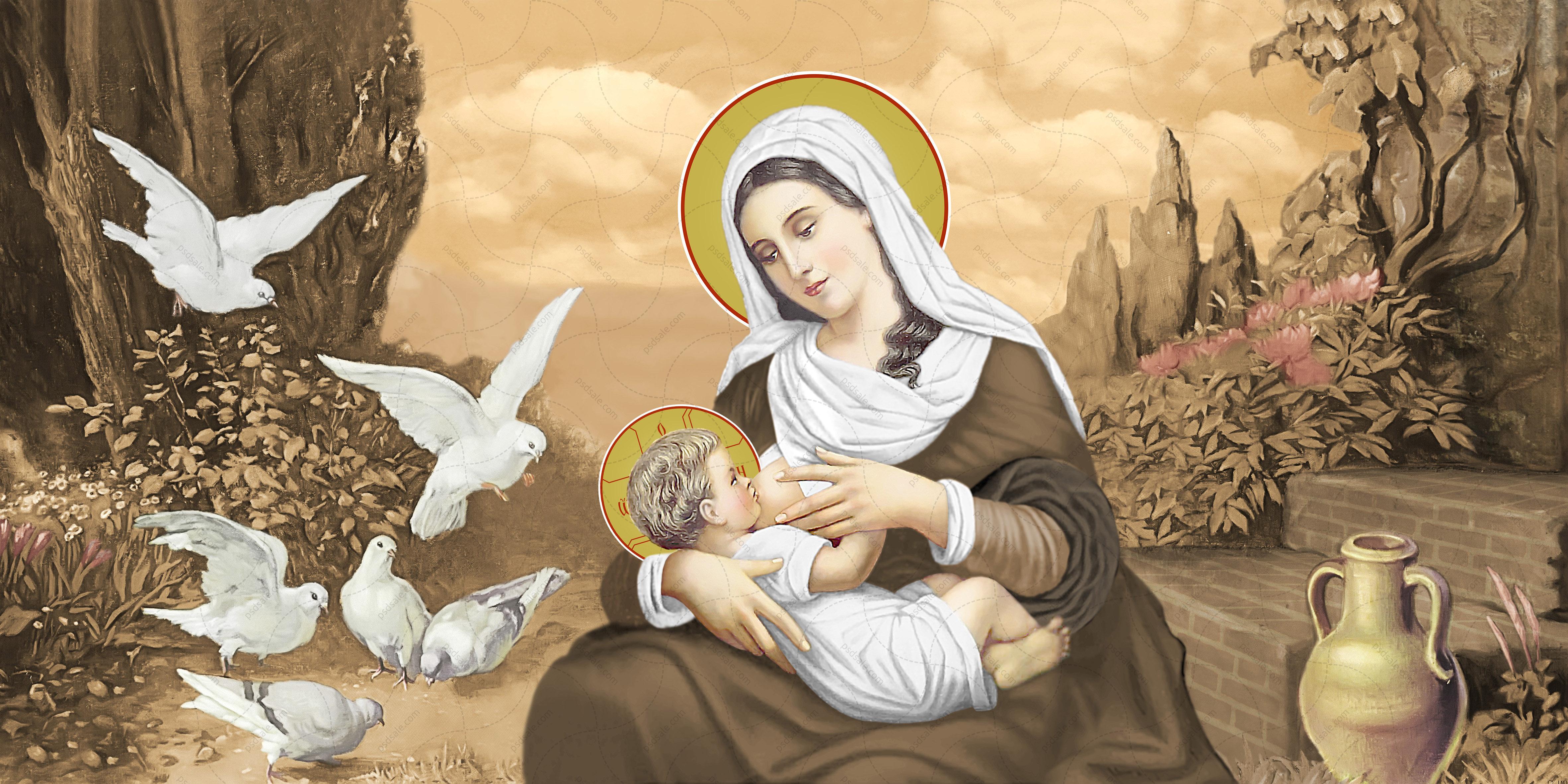 Кормящая Богородица, голуби