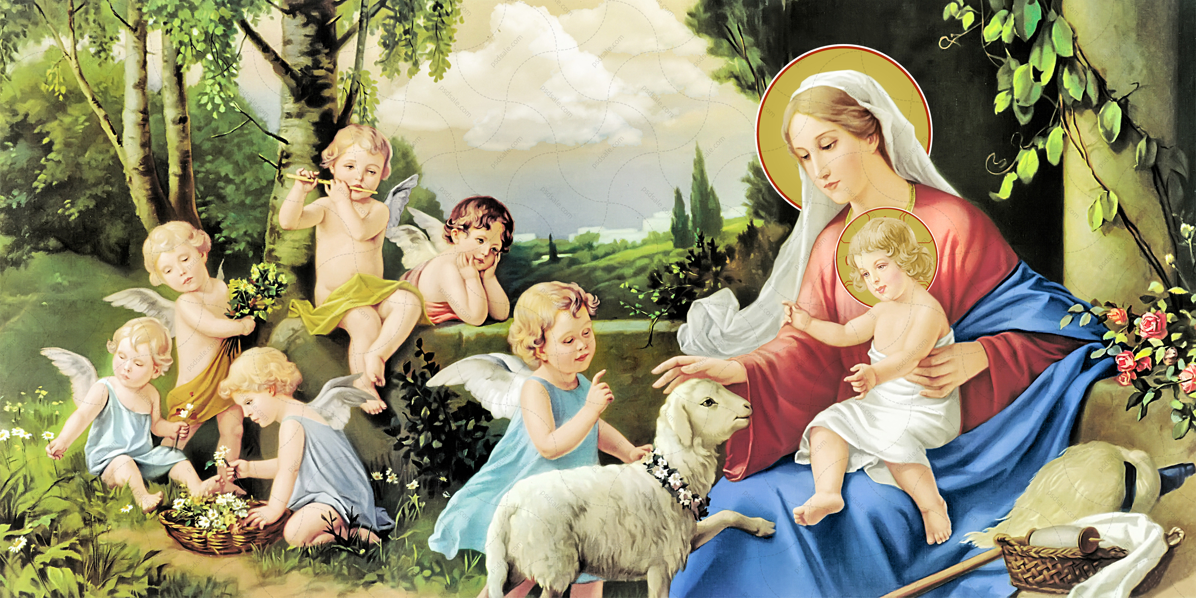 Богородица с Иисусом, ангелы