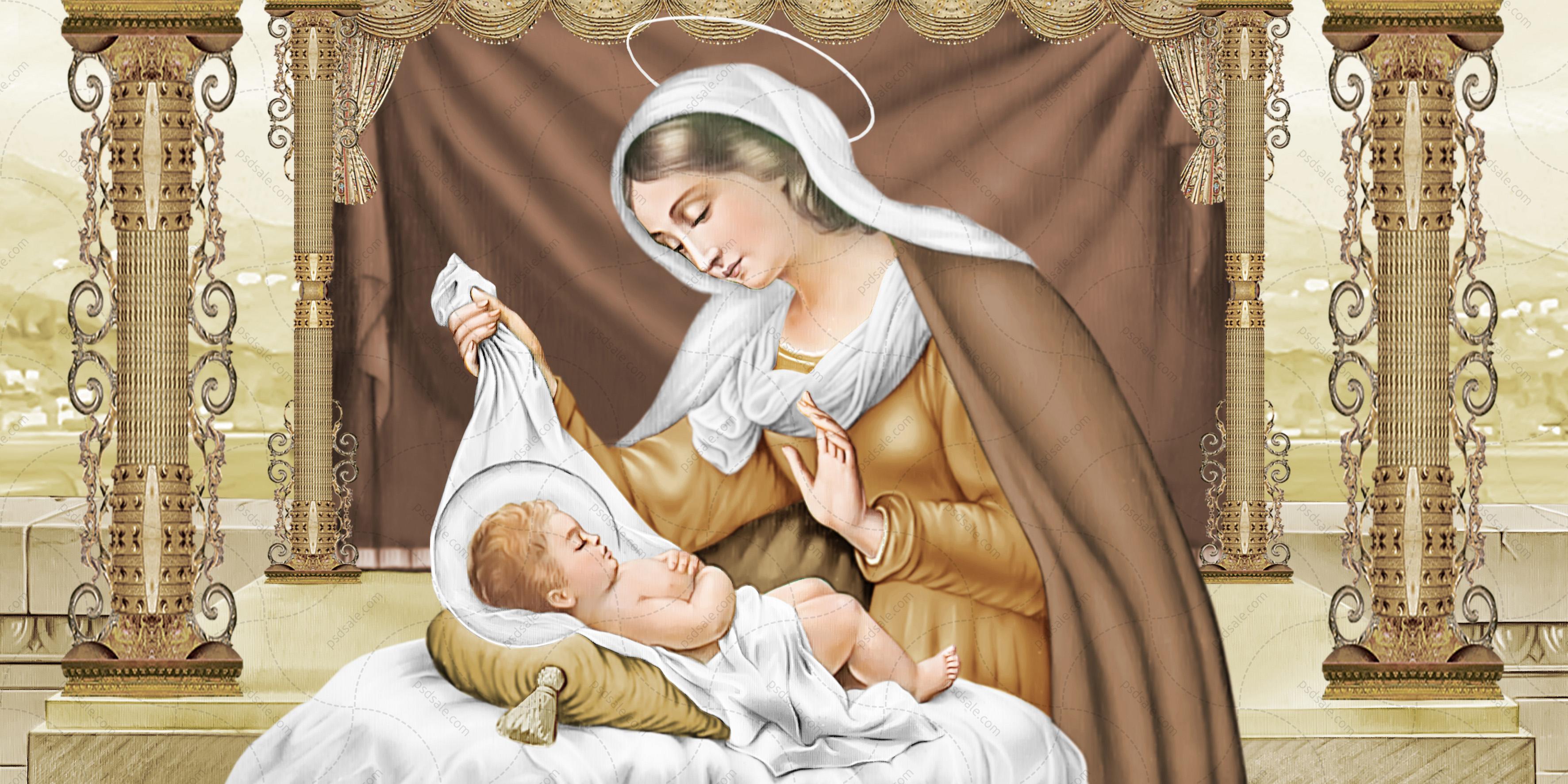 Богородица с Иисусом, колыбель