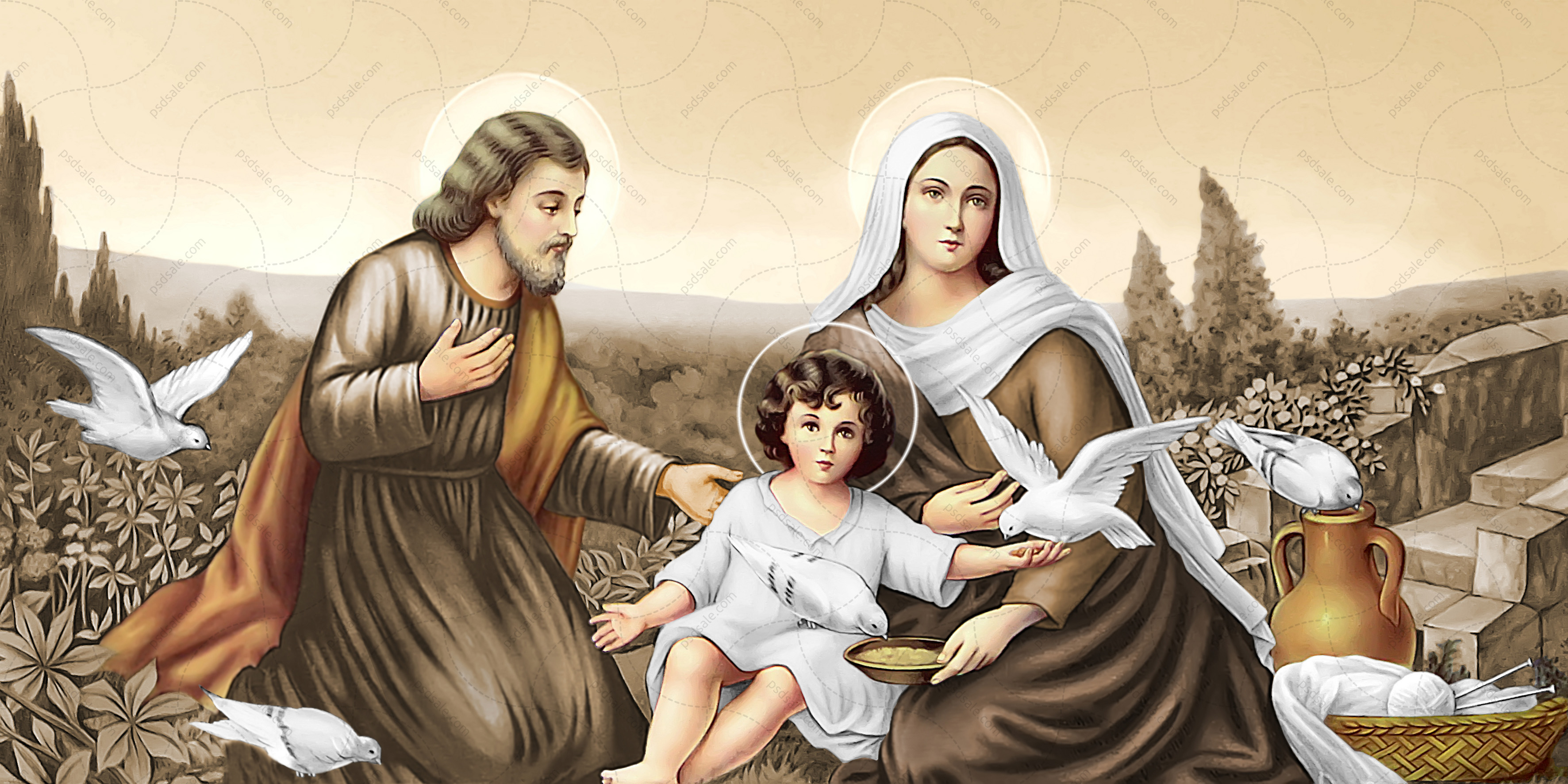 Святая семья, голуби