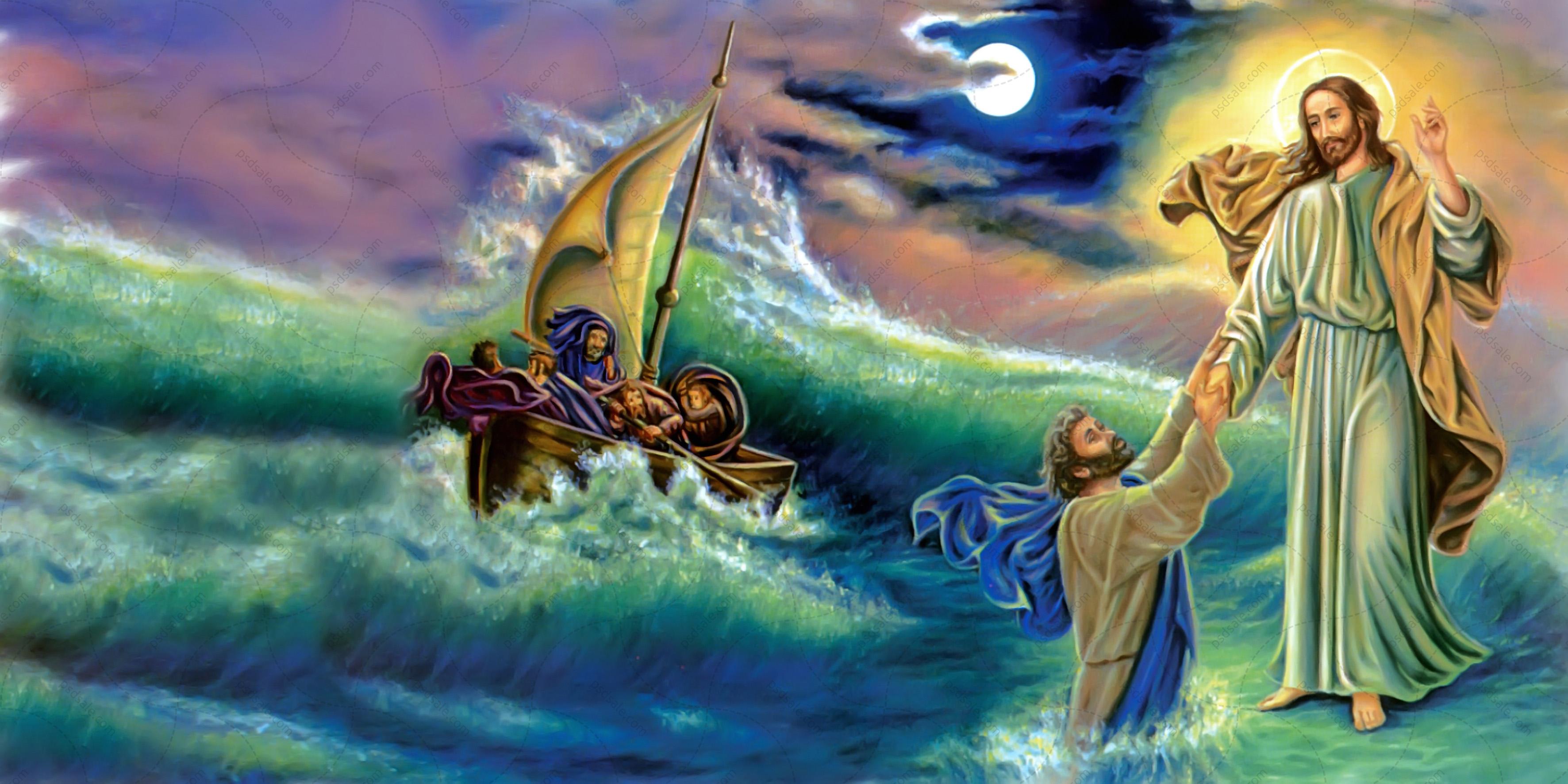 Иисус идущий по воде