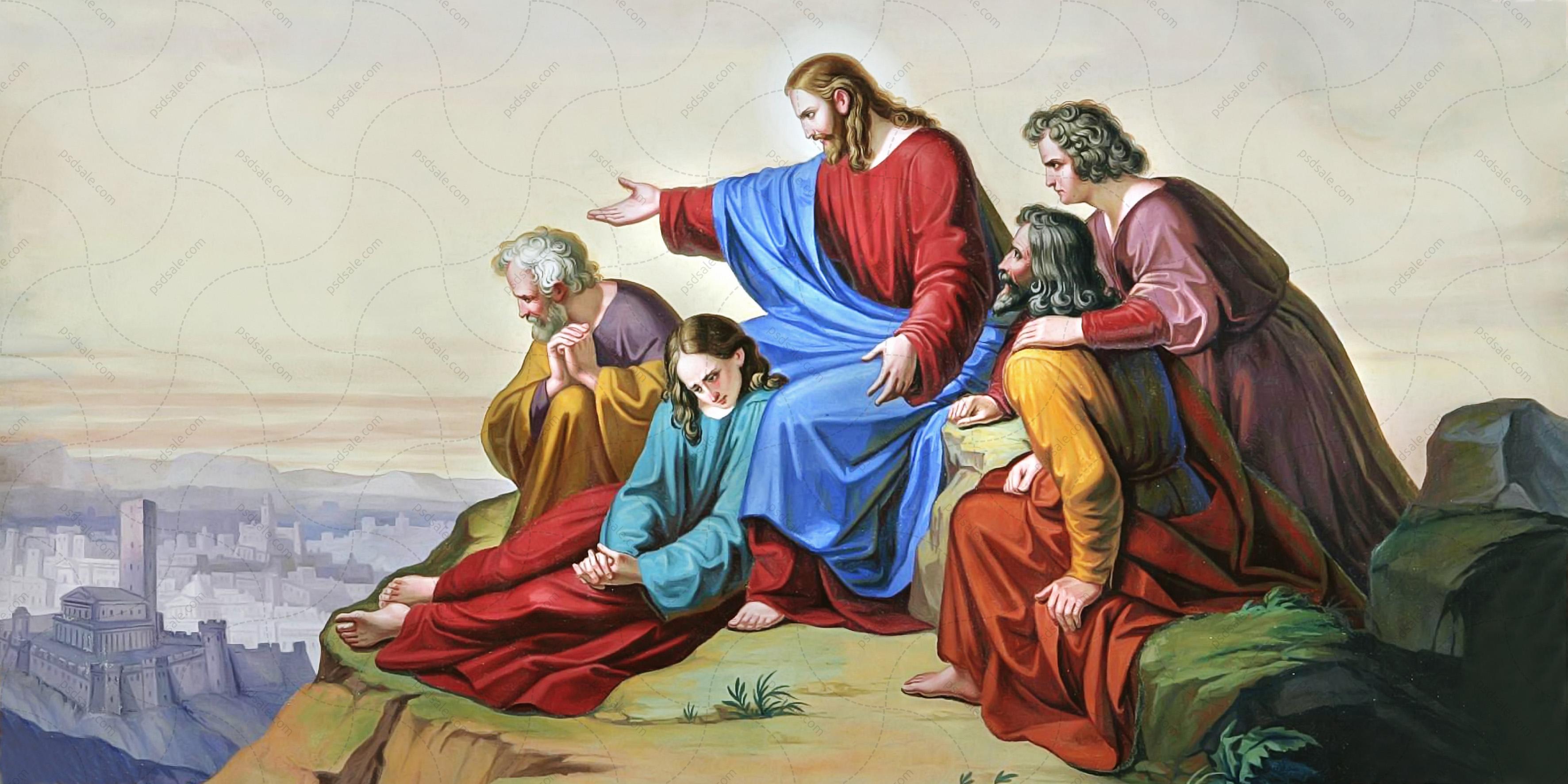 Иисус на горе с апостолами