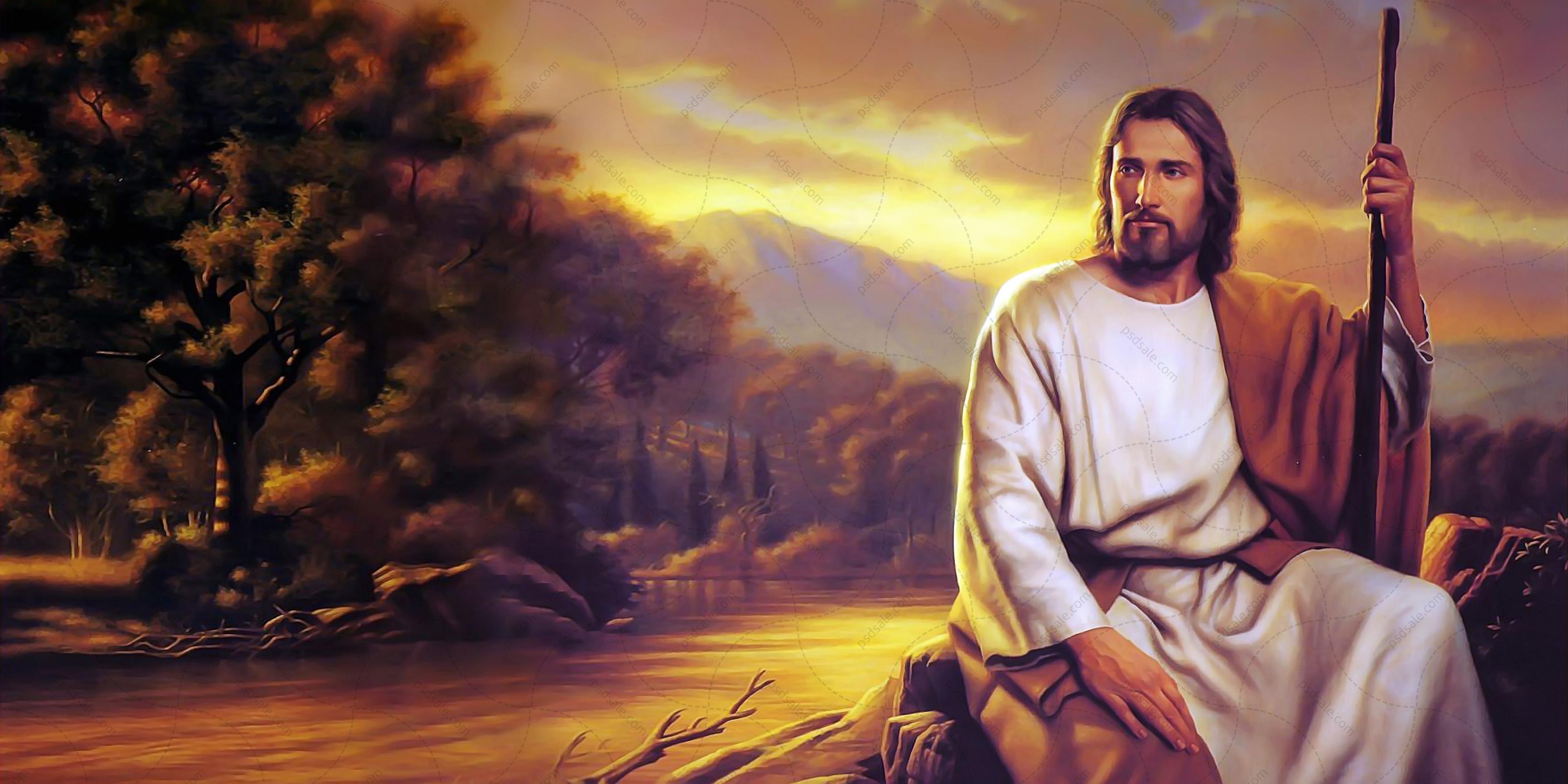 Иисус на берегу реки