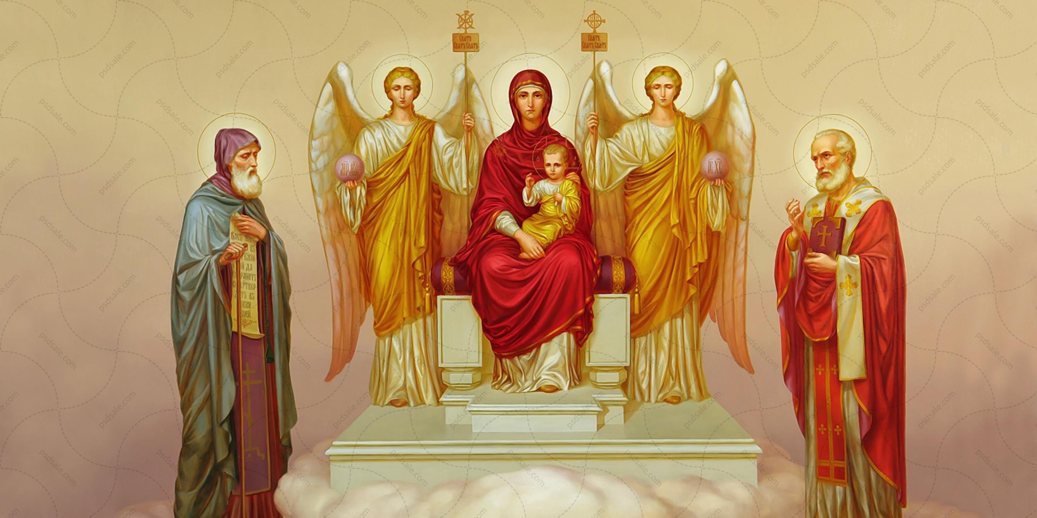 Образ пресвятой богородицы на троне с предстоящими